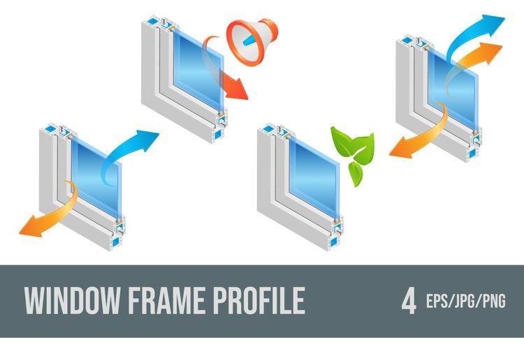 Set of vector illustrations plastic window frame profiles.
