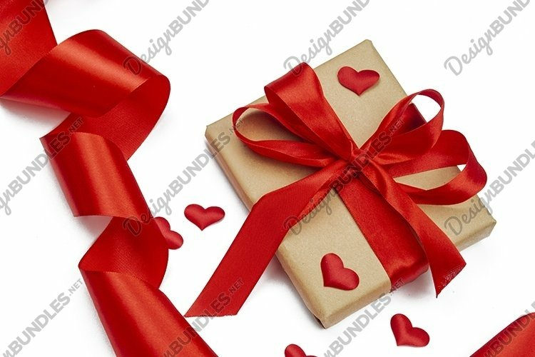 gift box with bow and ribbon red