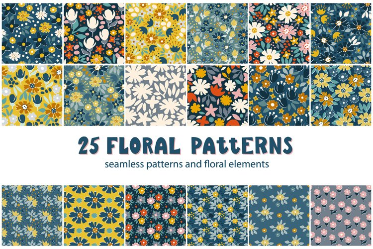 Rustic floral patterns set example image 1