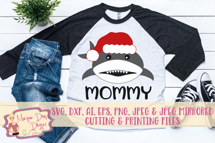 Christmas Mommy Shark SVG, DXF, AI, EPS, PNG, JPEG example image 1