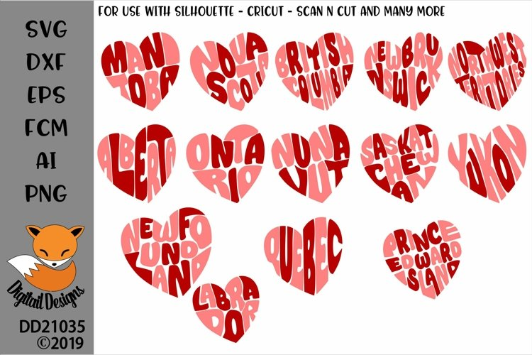 Canadian Province Heart Word Art SVG Bundle example image 1