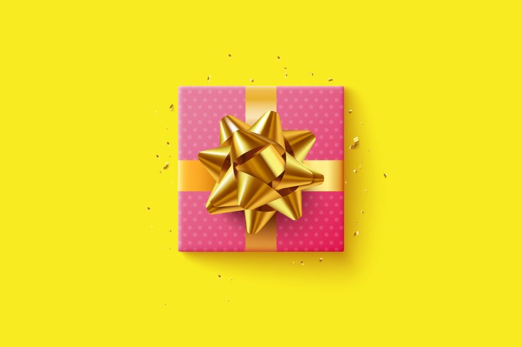 Pink gift box with golden ribbon example image 1