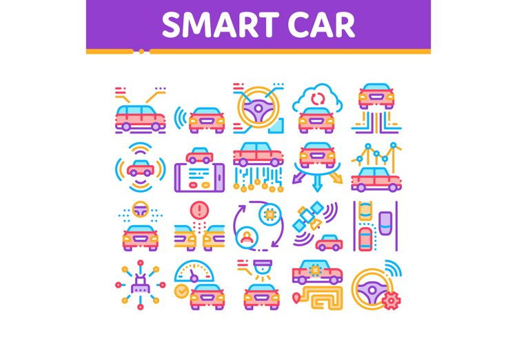 Smart Car Technology Collection Icons Set Vector example image 1