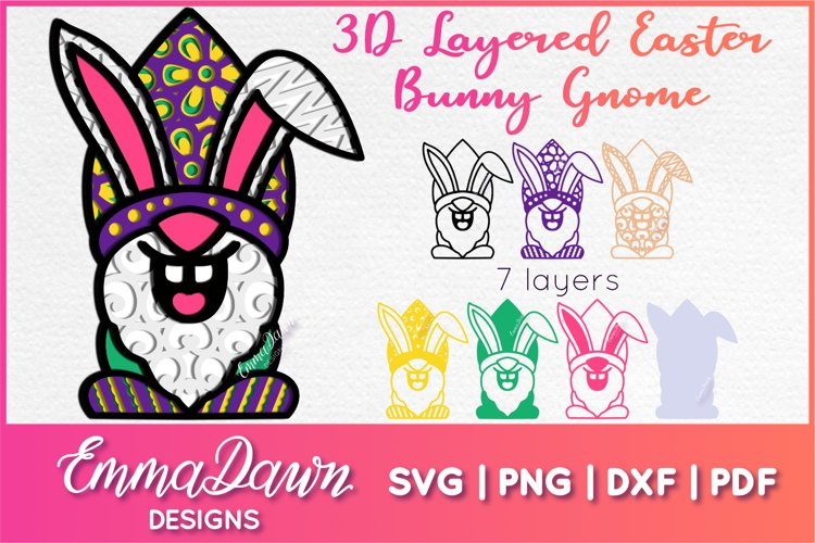 3D LAYERED EASTER BUNNY GNOME SVG, 3D SVG, 7 LAYERS