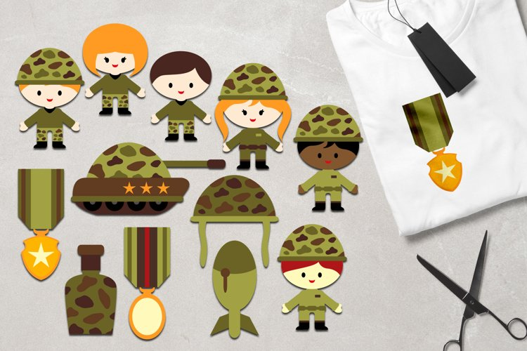 Military clipart / army kids, soldier, tank, medals graphics