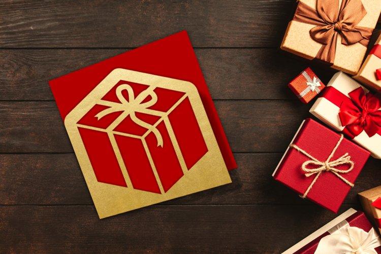 Angled Gift Box Papercut Card SVG