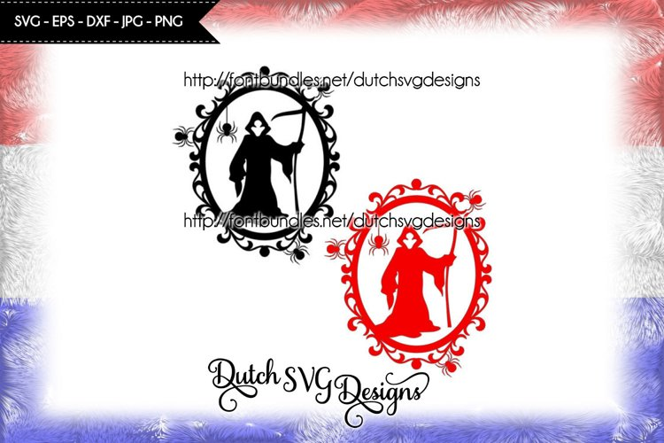 Halloween frame cut file, halloween svg, the reaper svg example image 1