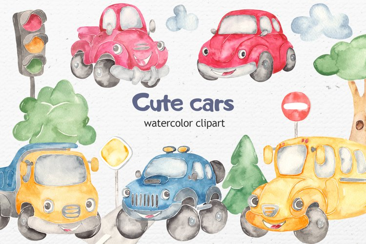 Watercolor cute cars beetle, jeep, school bus, truck, pickup