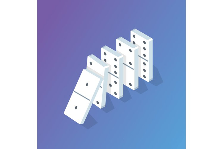 Falling Domino effect isometric concept. Vector illustration example image 1