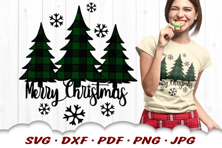 Merry Christmas Plaid Pine Trees SVG DXF Cut Files example image 1