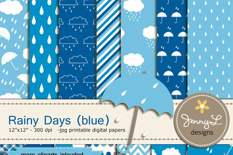 Umbrella Digital papers and Clipart, Rainy Day, Rain, Cloud for Birthday, Baby Boy Shower, Scrapbooking Paper Party Theme, Blue example image 1