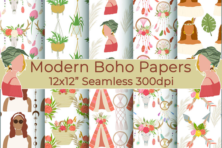Boho Woman Digital Papers, Shabby Chic, Boho Backgrounds