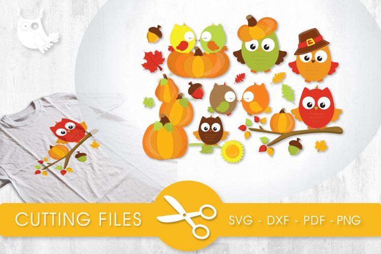 Fall Owls cutting files svg, dxf, pdf, eps included - cut files for cricut and silhouette - Cutting Files SVG example image 1