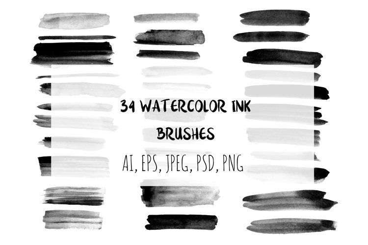 34 watercolor ink brushes. example image 1