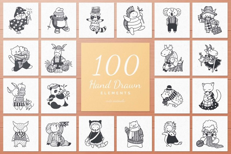 100 Hand Drawn Elements -Animals- example image 1
