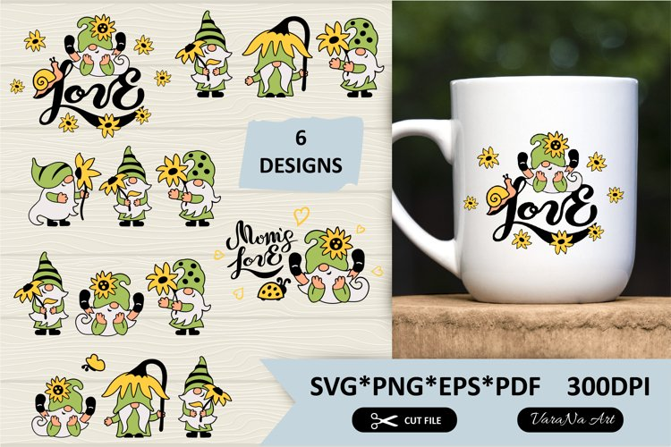 Summer gnomes with sunflower designs. Summer clipart.
