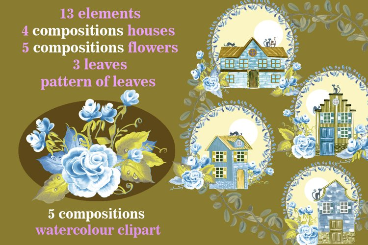 Houses watercolor clipart, Cute houses, flower