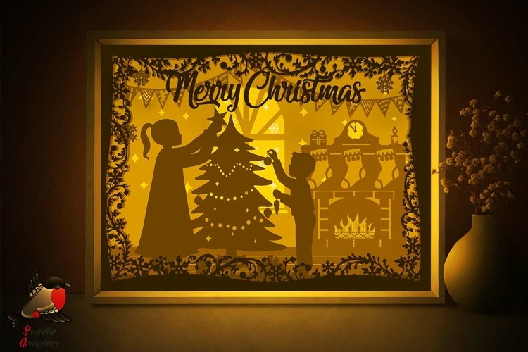 Merry Christmas Silhouette Lightbox Shadow Box SVG Template
