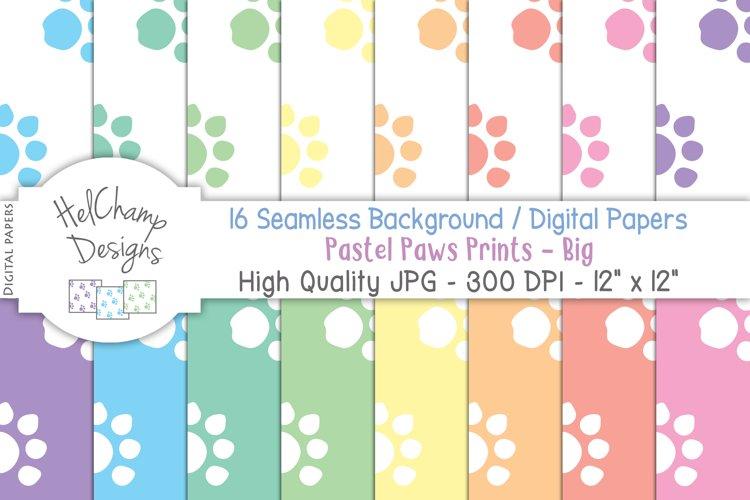 16 seamless Digital Papers - Pastel Paws Prints Big - HC028