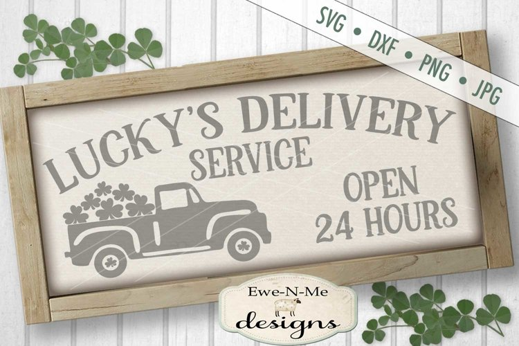 St. Patricks Day Truck Lucky's Delivery SVG DXF Cut File example image 1
