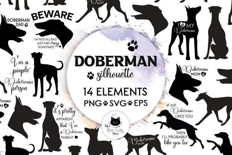 Doberman Silhouette Dog SVG Cut Files | Dog Mom Cricut Files example image 1