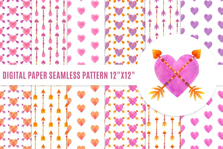 Valentine Arrow and Heart watercolor digital paper example image 1