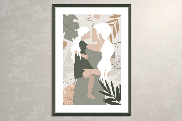 Mother and daughter silhouette poster, wall art