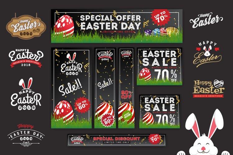 Easter Sale Banner Background & Emblem Logos example image 1