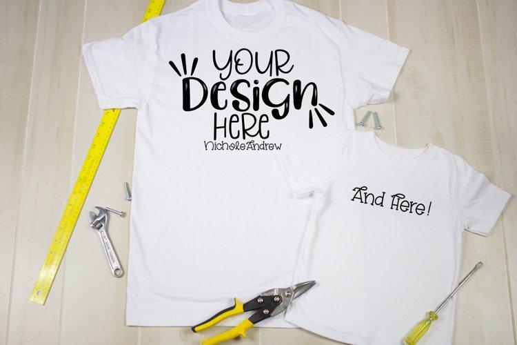 Gildan White Shirt, Toddler Shirt & Tools Mockup example image 1