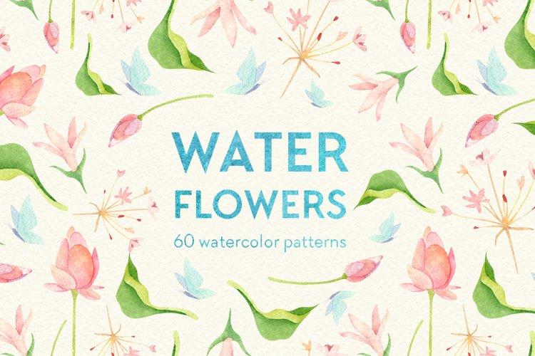 Wetland floral watercolor patterns example image 1