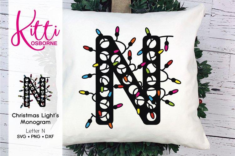 Christmas Lights Monogram Letter N example image 1