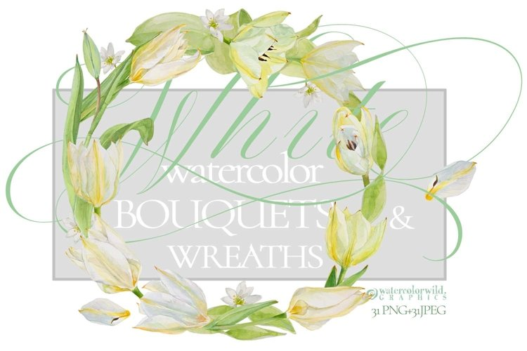 White Watercolor Bouquets & Wreaths
