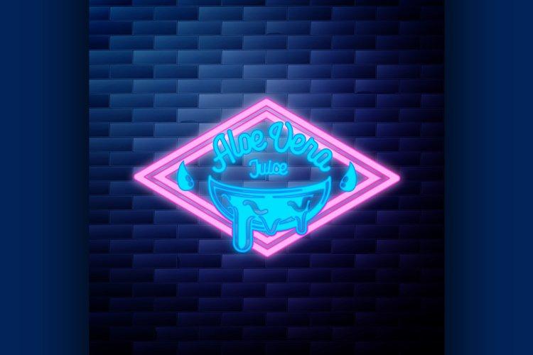 Vintage Aloe vera emblem glowing neon sign example image 1