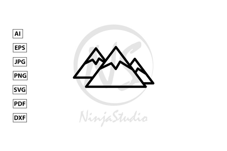 Mountain Line Icon In Flat Style Vector example image 1