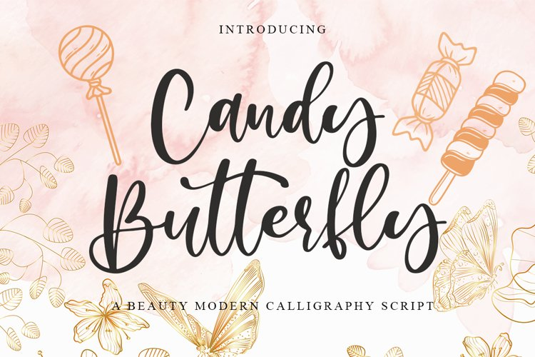 Candy Butterfly a Beauty Modern Calligraphy example image 1