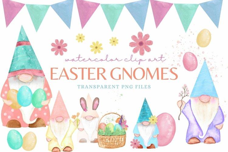 Watercolor Easter Gnomes Clip Art Set for Design Sublimation