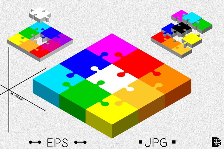 Puzzle Jigsaw clipart Pack. 3d Vector colorful illustration example image 1