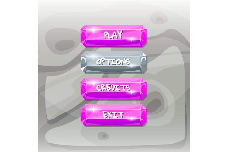 Vector cartoon style gemstone buttons with text for game example image 1