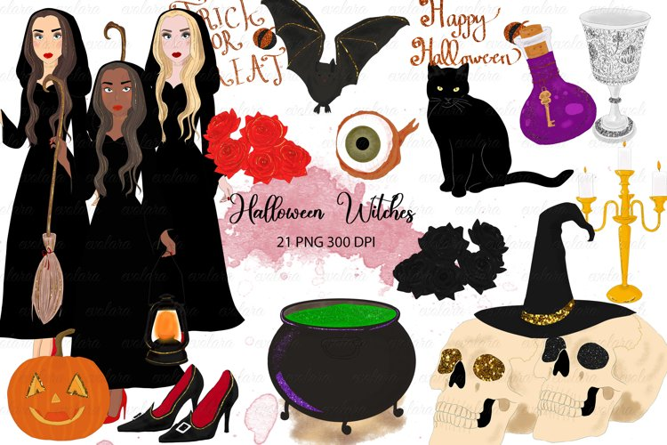 Halloween clipart Witches Clipart Black Cat skull example image 1
