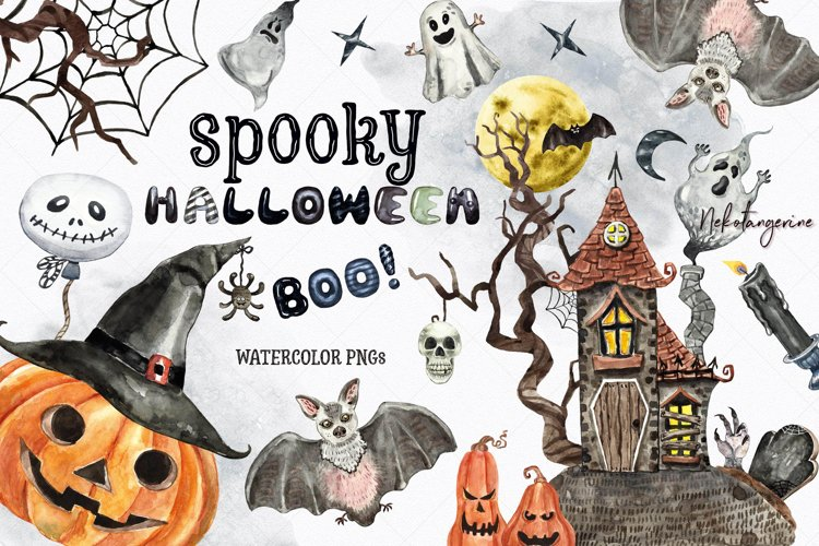 Watercolor Halloween Spooky Creepy Clipart example image 1