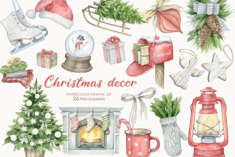 Watercolor Christmas Decor Clipart Set PNG