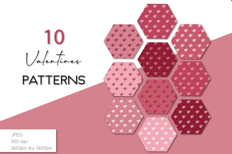 Hearts Digital Paper, Valentines Backgrounds example image 1