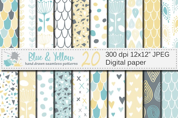 Blue and Yellow Seamless Digital Paper / Pastel Hand drawn patterns / Scales, Hearts, Leaves, Terrazzo Backgrounds