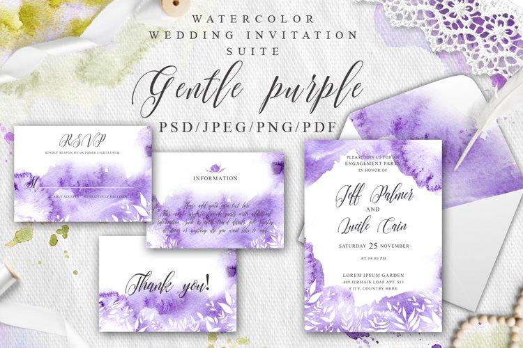 Gentle purple Watercolor Spring Wedding Invitation suite