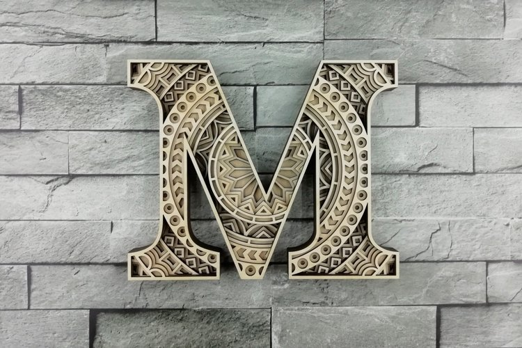 Layered Letter M, Layered letters SVG, Multilayer Letters