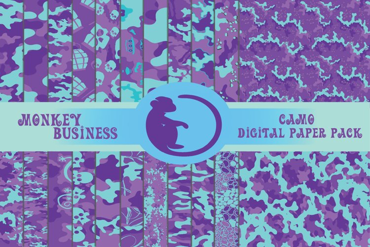 Purple camo digital papers, Scrapbook papers, Printable example image 1