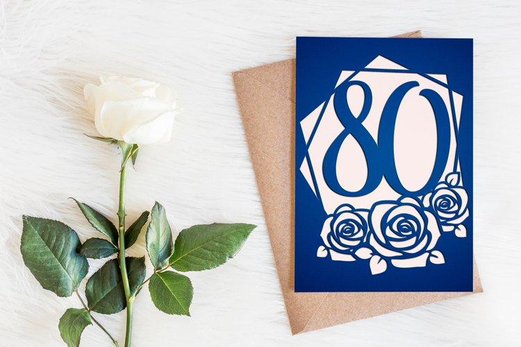 80th birthday card template, Birthday invitation svg