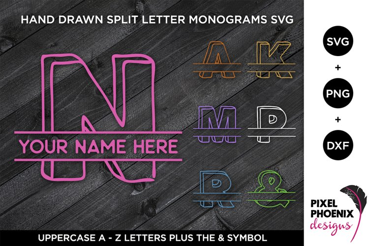 Split Monogram Alphabet, Monogram SVG