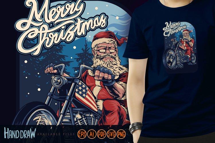 Merry Christmas Santa Claus Bikers Harley Riding American example image 1