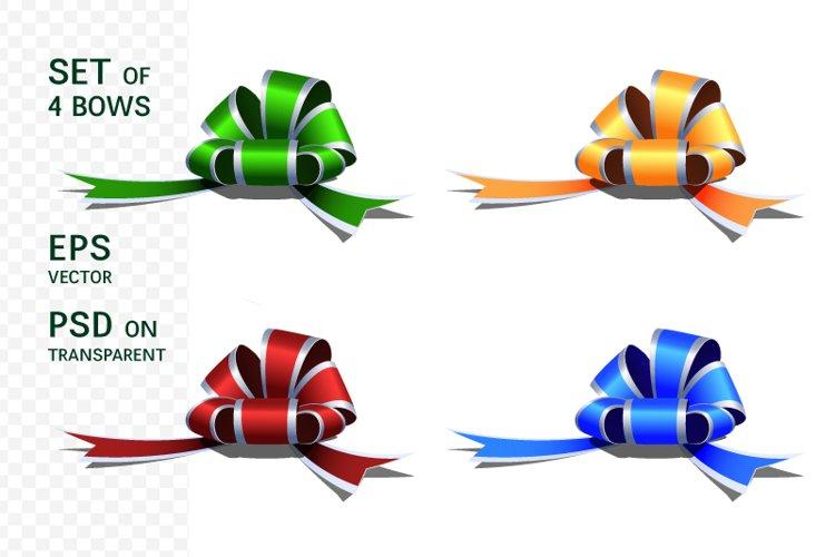 Set of realistic festive decorative bows